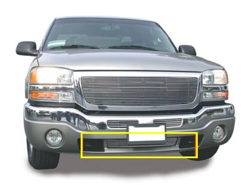 GMC Sierra Bumper/Airdam Billet Grille Insert - Between Tow Hooks 6 Bars - Pt # 25202