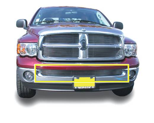 Dodge Ram PU Except Sport & Diesel Bumper Billet Grille Insert - Use w/Chrome Bumpers Except Diesel - Pt # 25465