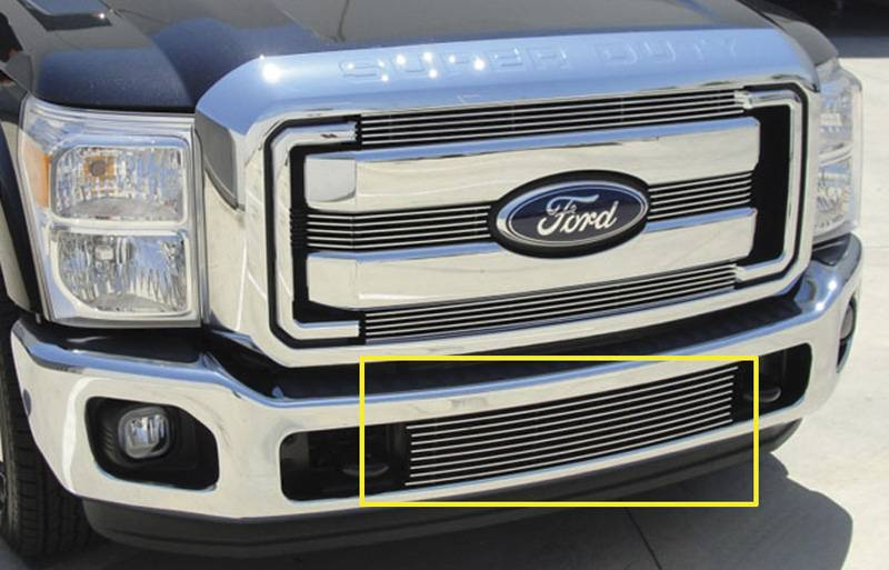 T-REX Grilles - 2011-2016 Super Duty Billet Bumper Grille, Polished, 1 Pc, Bolt-On - PN #25546