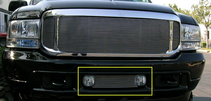 Ford Excursion Bumper/Air Dam Billet Grille Insert - Fits Between OE Fog Lamps 9 Bars - Pt # 25567