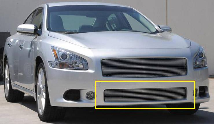 T-REX Grilles - 2009-2014 maxima Billet Bumper Grille, Polished, 1 Pc, Overlay - PN #25758