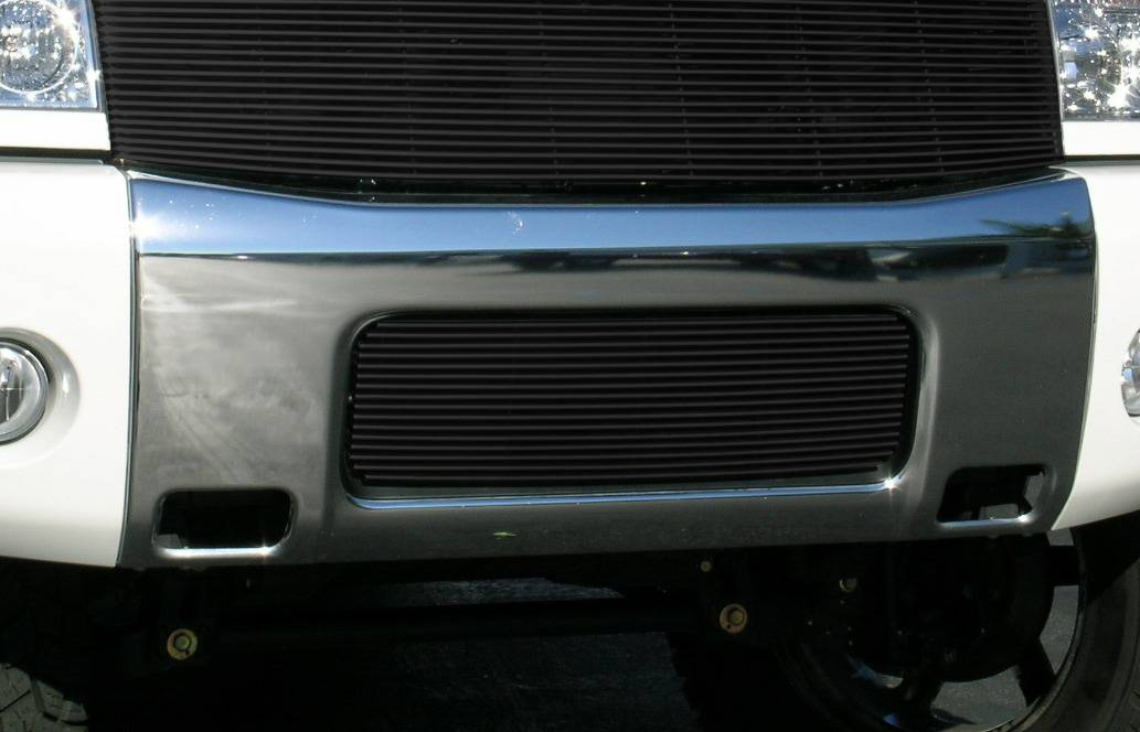 T-REX Grilles - Nissan Titan Bumper Billet Grille Insert 16 Bars - All Black - Pt # 25780B