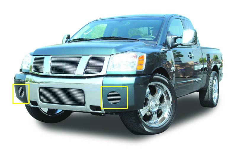 T-REX Grilles - Nissan Titan Bumper Fog Lamp Billet Grille Insert - 2 Pc - Horizontal or VERTICAL - Pt # 25781