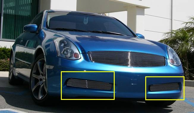 T-REX Grilles - 2003-2007 Infiniti G-37 Coupe Billet Bumper Grille, Polished, 2 Pc, Overlay - PN #25797