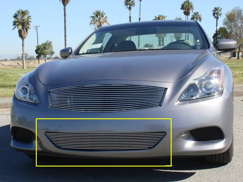 T-REX Grilles - 2008-2014 Infiniti G-37 Coupe Sport Billet Bumper Grille, Polished, 1 Pc, Overlay - PN #25810