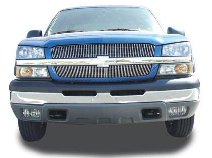 Chevrolet Silverado VERTICAL Billet Grille Overlay/Bolt - 2 Pc 65 & 63 Bars - Pt # 31100