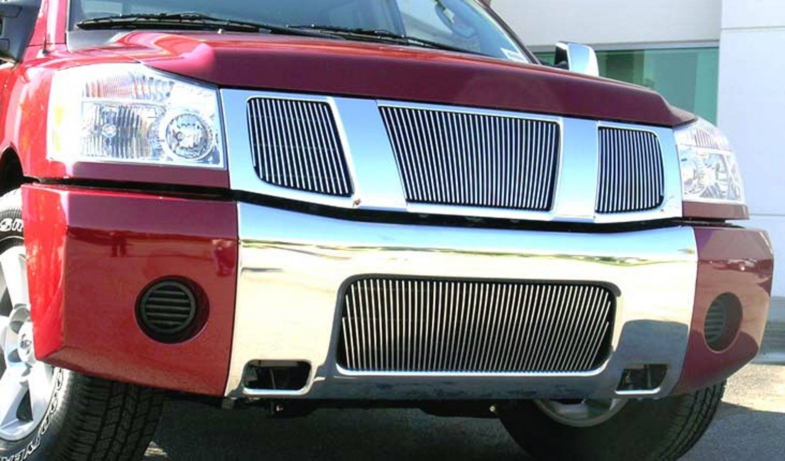 T-REX Nissan Titan 04-07 Armada VERTICAL Billet Grille Overlay/Bolt On - VERTICAL - 3 Pc 32,16,16 Bars - Pt # 31780