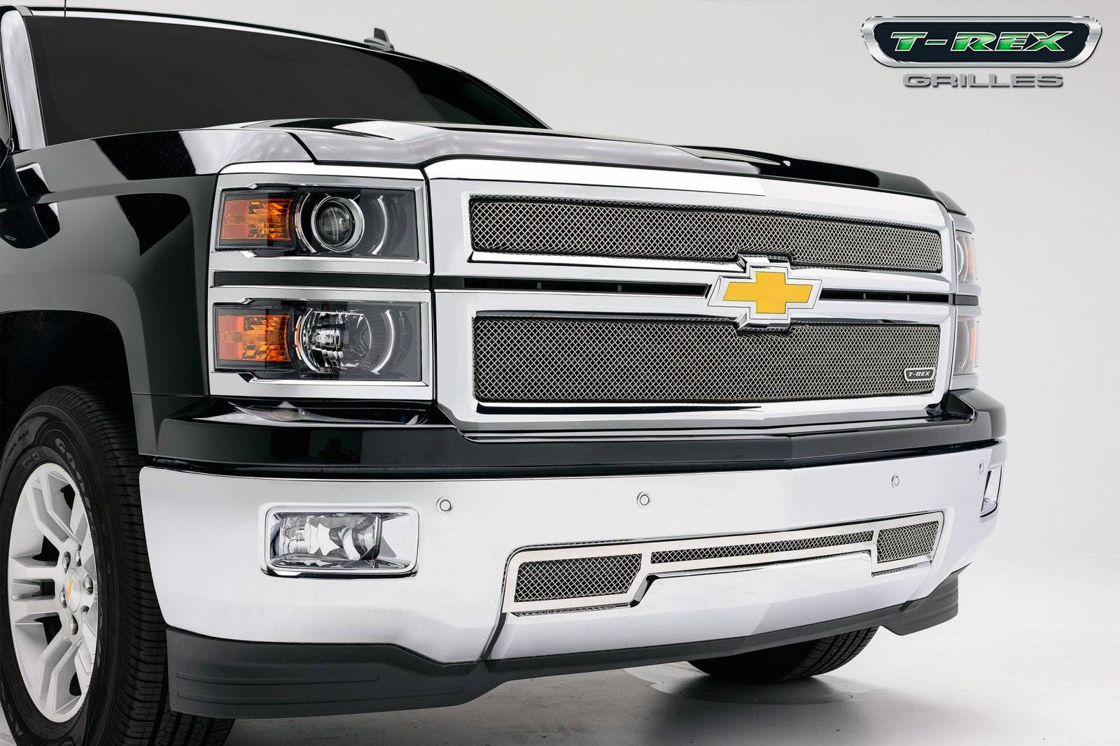 T-REX Grilles - Chevrolet Silverado Sport Series Formed Mesh Grille - Stainless Steel - Triple Chrome Plated - 2 Pc - Pt # 44117