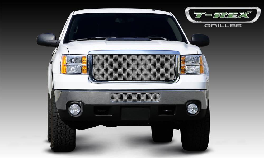 T-REX Grilles - GMC Sierra HD Sport Series Formed Mesh Grille - Stainless Steel - Triple Chrome - Pt # 44209