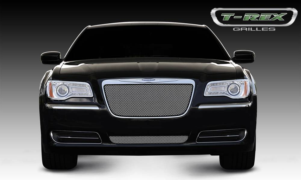 T-REX Chrysler 300 All Sport Series Formed Mesh Grille - Stainless Steel - Triple Chrome Plated - Installs into OE / factory chrome grille surround - Pt # 44433
