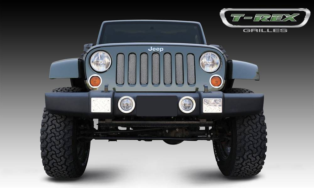 T-REX Jeep Wrangler Sport Series Formed Mesh Grille - Stainless Steel - Triple Chrome Plated installs behind factory grille - Pt # 44481