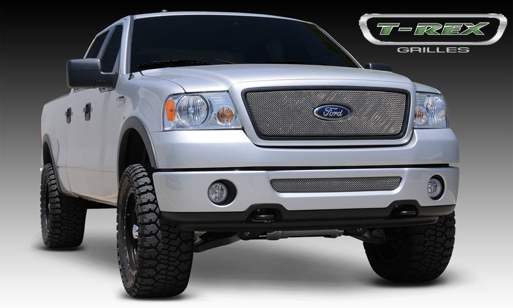 T-REX Grilles - Ford F150 2WD and All Lariat Models Sport Series Formed Mesh Grille - Stainless Steel - Triple Chrome Plated - w/ Logo Opening - Pt # 44556