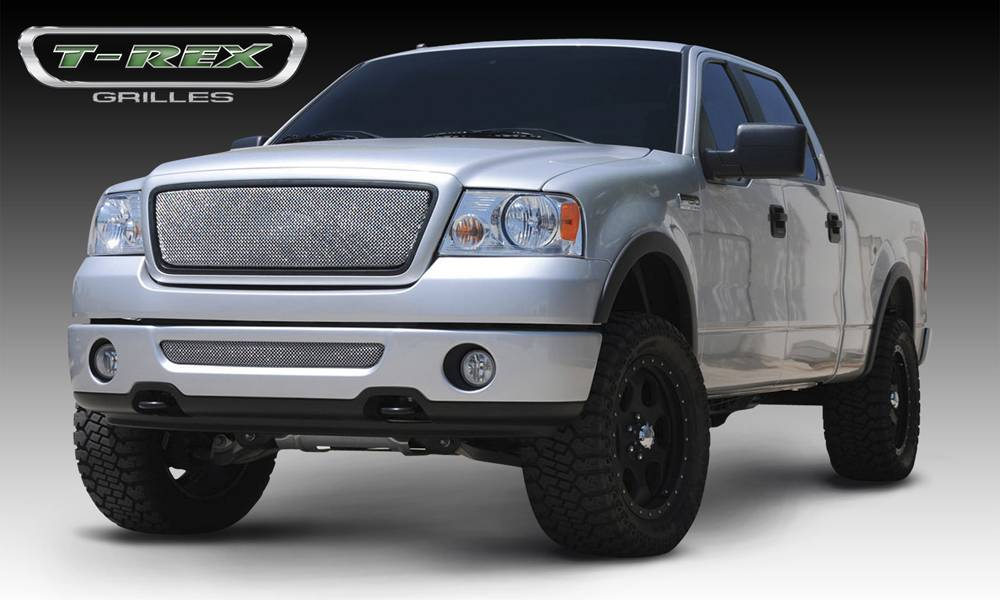 T-REX Grilles - Ford F150 2WD and All Lariat Models Sport Series Formed Mesh Grille - Stainless Steel - Triple Chrome Plated No Logo - Pt # 44557