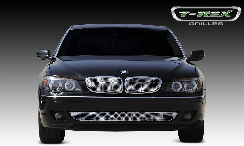 T-REX Grilles - BMW 750 Series Sedan Sport Series Formed Stainless Steel Mesh Grille with thin SS Frame  - Triple Chrome Plated - 2 Pc - Pt # 44998