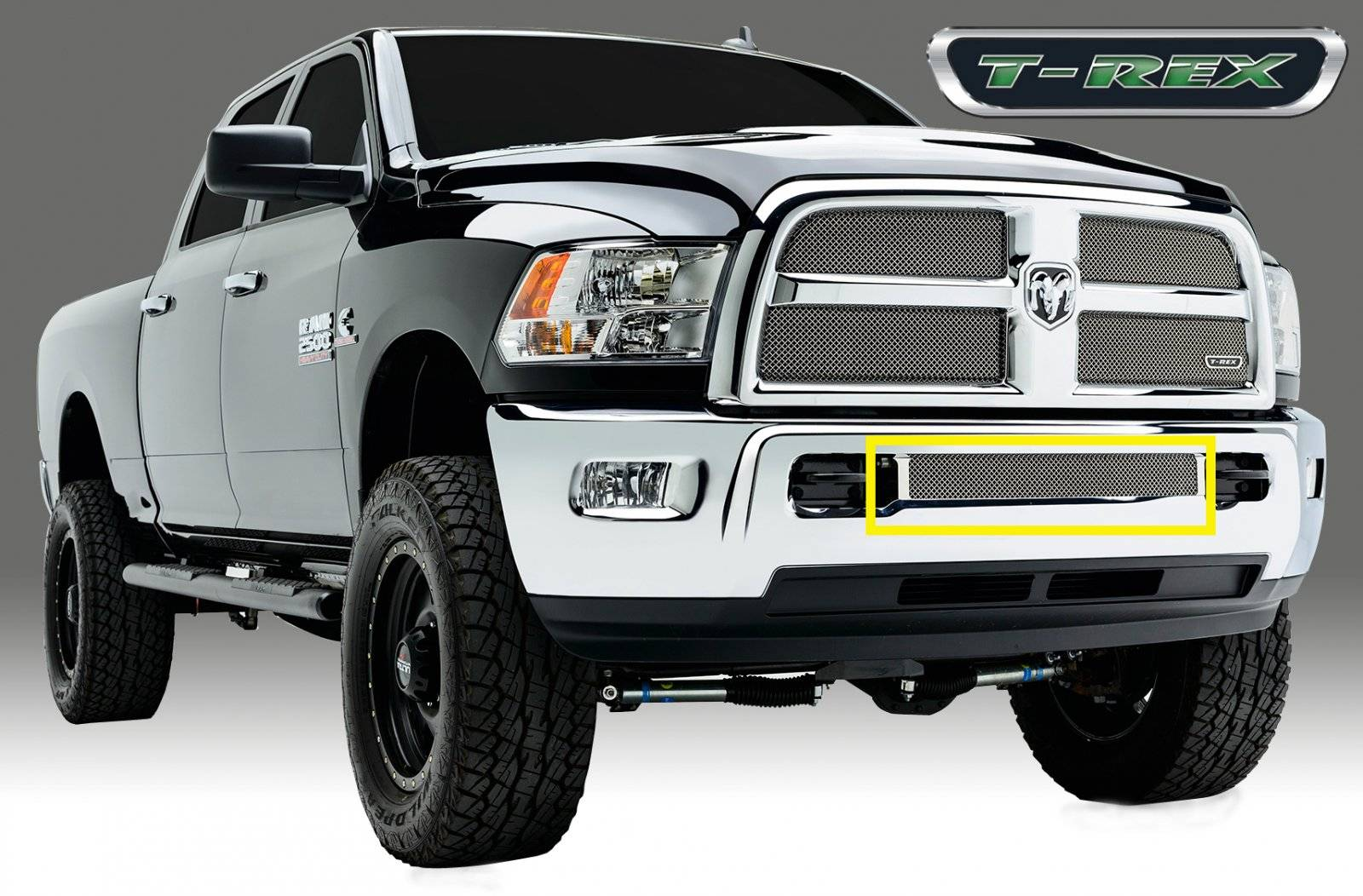 T-REX Grilles - Dodge Ram PU 2500 / 3500 Sport Series, Mesh Grille, Bumper, Insert, 1 Pc, Triple Chromed Stainless Steel - Pt # 45452