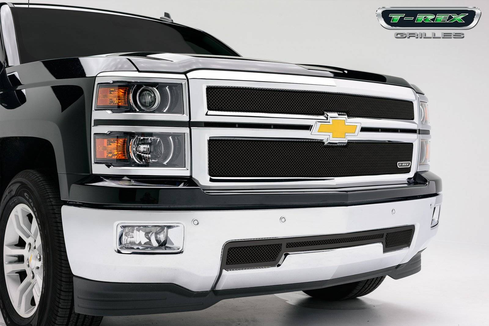 T-REX Grilles - Chevrolet Silverado Sport Series Formed Mesh Grille - ALL Black Powdercoat - 2 Pc - Pt # 46117