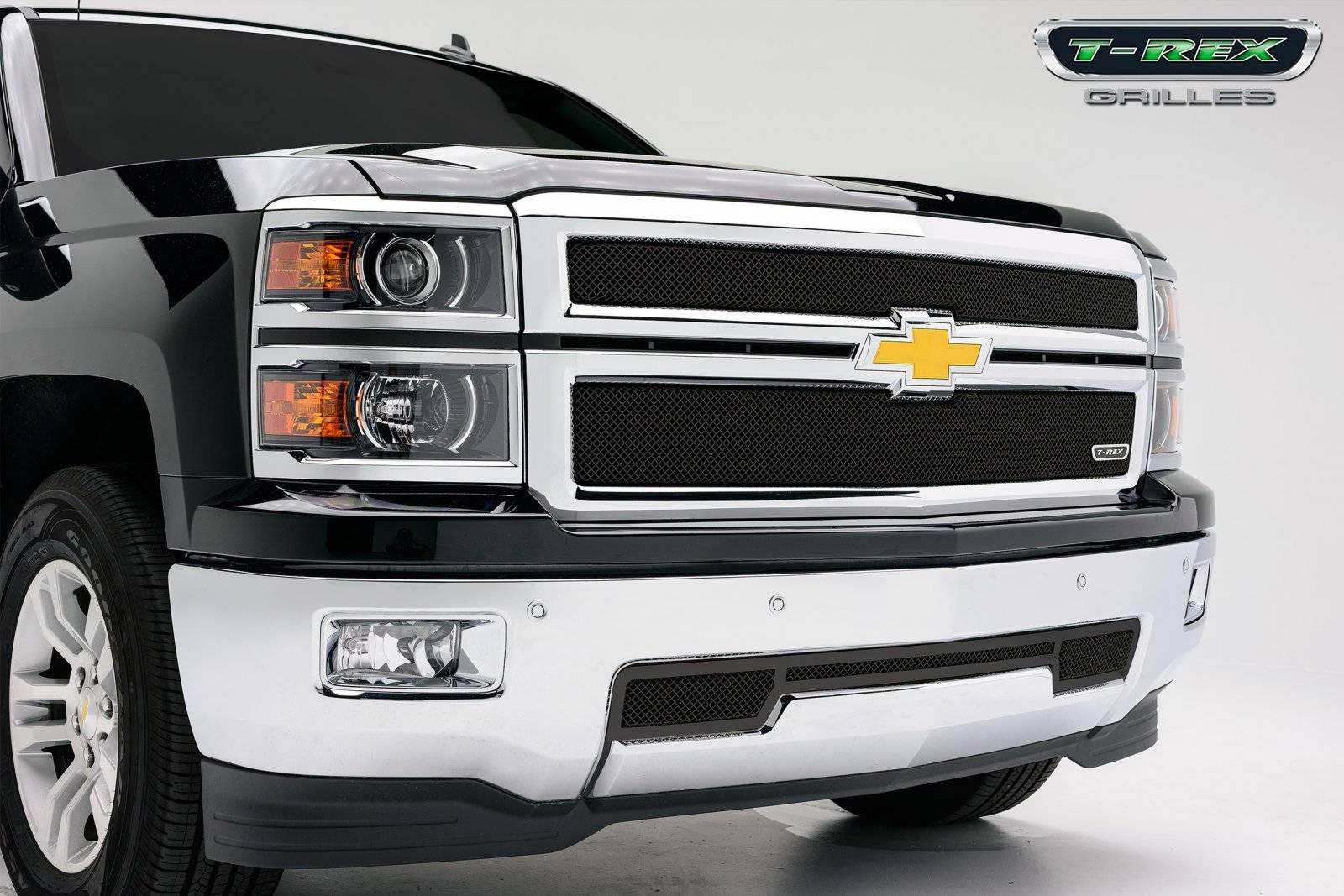 T-REX Chevrolet Silverado Z71 Sport Series Formed Mesh Grille - ALL Black Powdercoat - 2 Pc - Pt # 46120