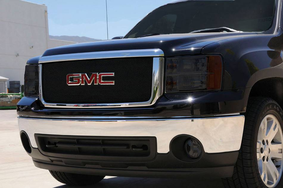 T-REX Grilles - GMC Sierra HD Sport Series Formed Mesh Grille - ALL Black Powdercoat - w/ Logo Opening - Pt # 46207
