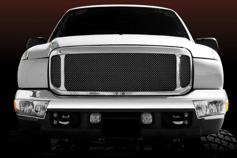 T-REX Grilles - Ford Super Duty Grille Assembly - Aftermarket Chrome Shell - w/ ALL Black Mesh 51571 Installed - Pt # 50572