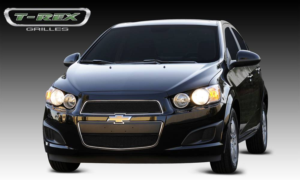 T-REX Chevrolet Sonic Upper Class Mesh Grille - 2 Pc - All Black - Pt # 51132
