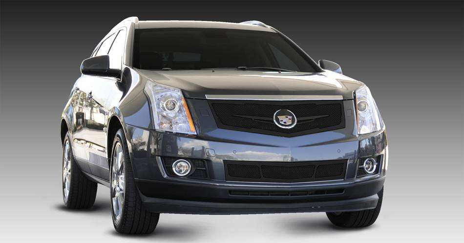 T-REX Cadillac SRX Upper Class Mesh Grille - Replacement - Full Opening - w/ Winged OE Logo Plate - Black - Pt # 51186