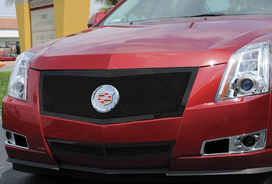T-REX Cadillac CTS Upper Class Mesh Grille - All Black - Formed Mesh with Recessed Logo Area - Includes Polished Logo Plate to Re-Install OE Cadillac Grille Emblems - Pt # 51197