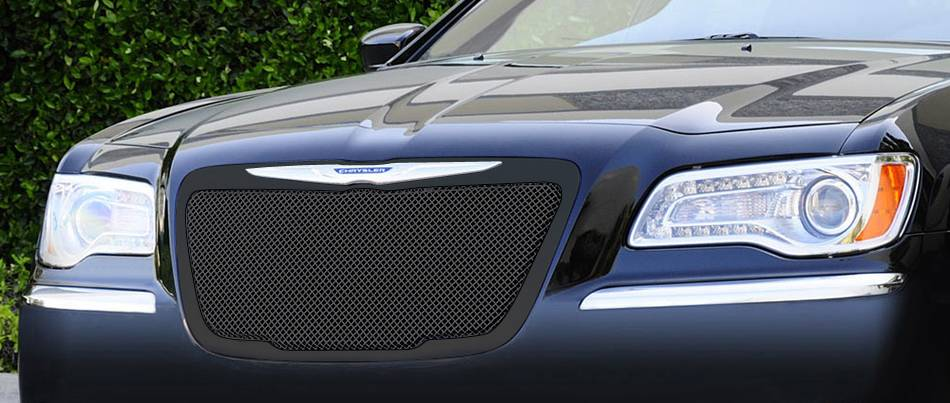 T-REX Chrysler 300 All Upper Class Mesh Grille - All Black - With Formed Mesh Center - OE Logo installs on top of grille - Pt # 51433