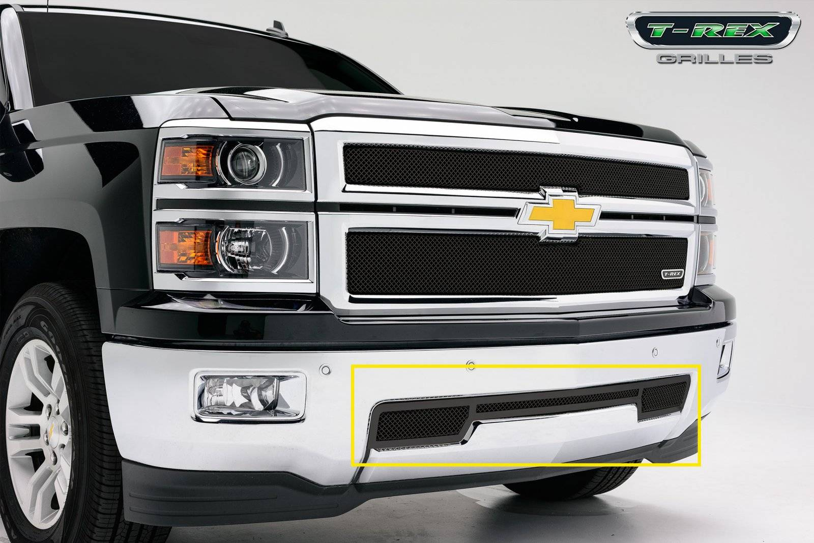T-REX Chevrolet Silverado Upper Class Bumper Mesh Grille - All Black - Pt # 52117