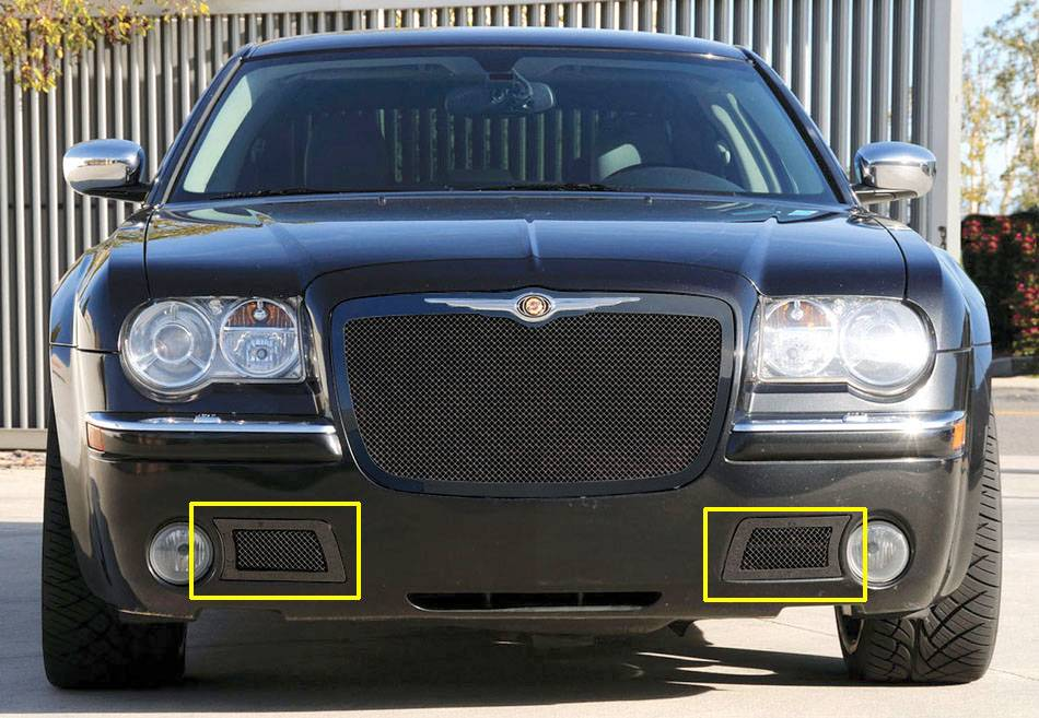 T-REX Grilles - 2005-2010 Chrysler 300C, SRT Upper Class Bumper Grille, Black, 2 Pc, Overlay - PN #52471
