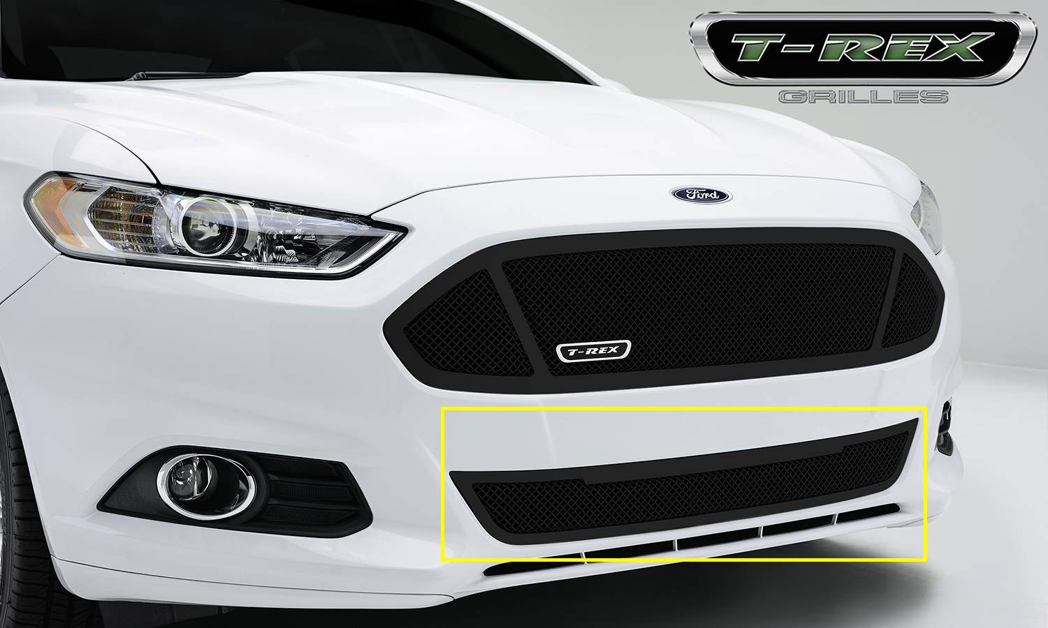 T-REX Ford Fusion Upper Class, Formed Mesh Grille, Bumper, Replacement, 1 Pc, Black Powdercoated Mild Steel - Pt # 52531
