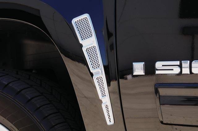 T-REX Chevrolet Silverado HD Fender Vent Vertical Style - Billet Chrome Plated - Silverado & Sierra Models - Pt # 54006