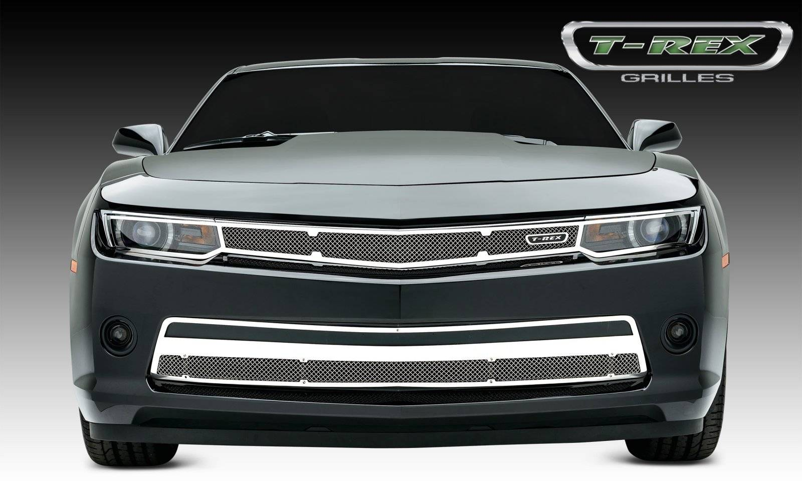 T-REX Chevrolet Camaro SS Upper Class, Formed Mesh, Main Grille Head Light Trim, Overlay, 1 Pc, Polished Stainless Steel - Pt # 54031