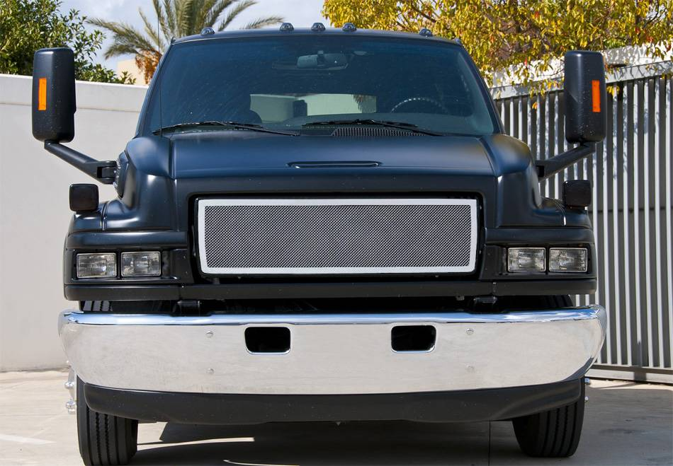 T-REX Grilles - 2004-2009 Chev Kodiak C-4500, C-5500 Upper Class Series Main Grille, Polished, 1 Pc, Overlay - PN #54087
