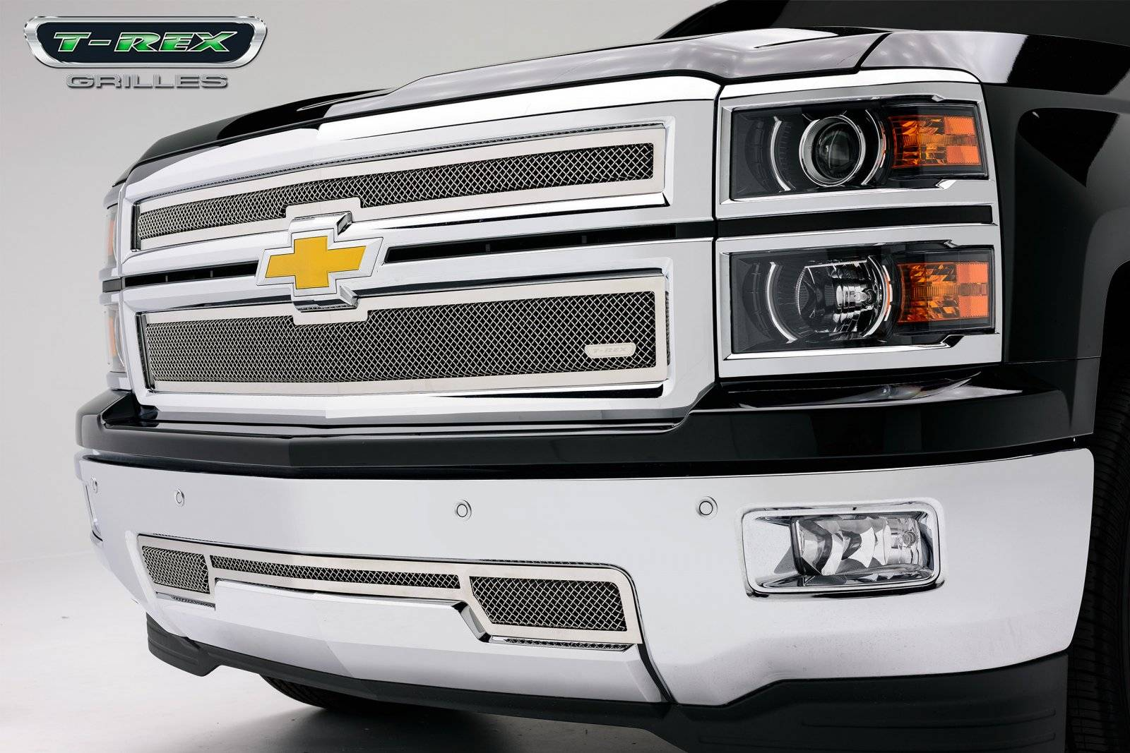 T-REX Grilles - 2014-2015 Silverado 1500 Upper Class Grille, Polished, 2 Pc, Overlay - PN #54117