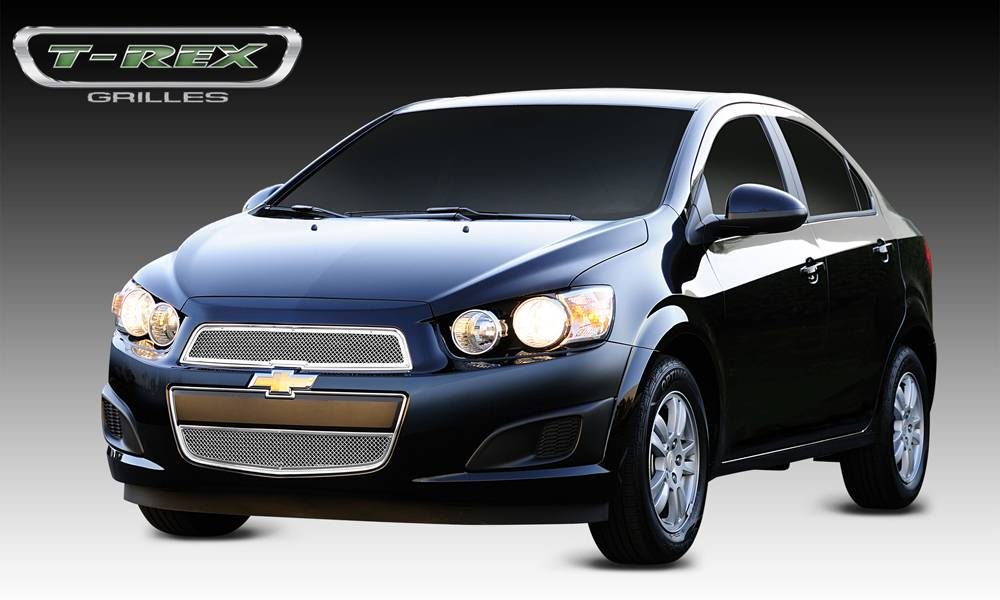 T-REX Grilles - Chevrolet Sonic Upper Class Polished Stainless Mesh Grille - 2 Pc - Pt # 54132