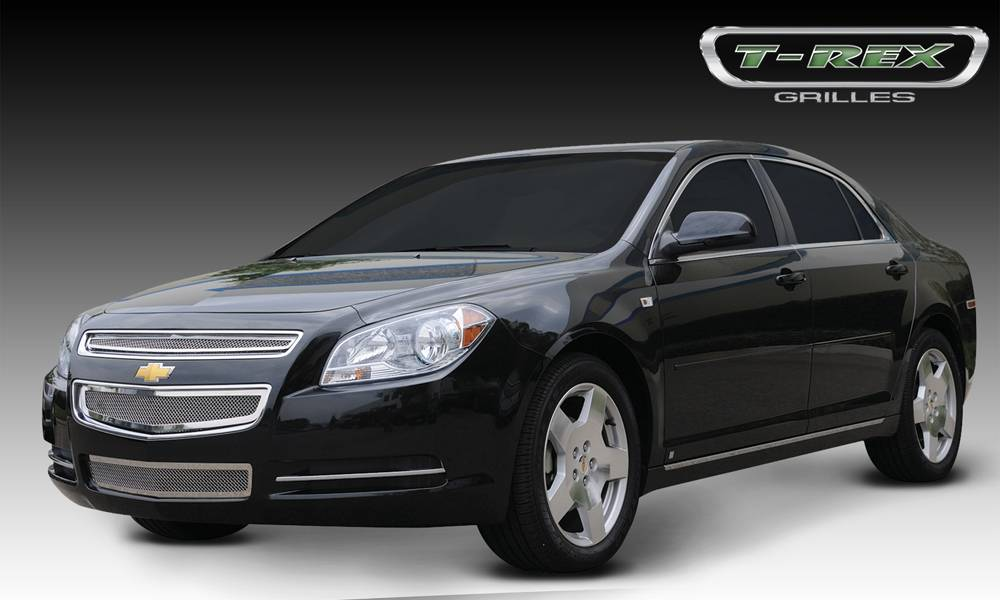 T-REX Grilles - 2008-2012 Chev Malibu LS, LT Upper Class Series Main Grille, Polished, 2 Pc, Overlay - PN #54168