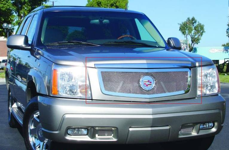 T-REX Cadillac Escalade, EXT, ESV Upper Class Polished Stainless Mesh Grille with Recessed Logo Area - Includes Polished Logo Plate to Re-Install OE Cadillac Grille Emblems - Pt # 54182