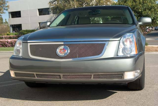 T-REX Cadillac DTS Upper Class Polished Stainless Mesh Grille with Recessed Logo Area - Includes Polished Logo Plate to Re-Install OE Cadillac Grille Emblems - Pt # 54188