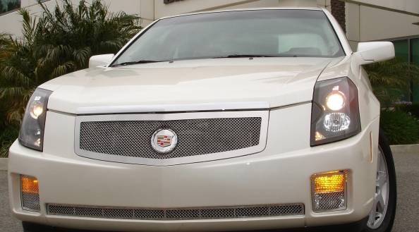 Cadillac CTS Upper Class Polished Stainless Mesh Grille with Recessed Logo Area - Includes Polished Logo Plate to Re-Install OE Cadillac Grille Emblems - Pt # 54190