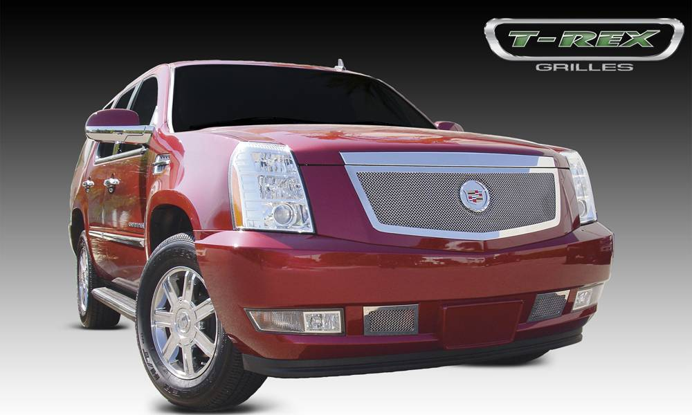 T-REX Cadillac Escalade, EXT, ESV Upper Class Polished Stainless Mesh Grille with Recessed Logo Area - Includes Polished Logo Plate to Re-Install OE Cadillac Grille Emblems - Pt # 54193