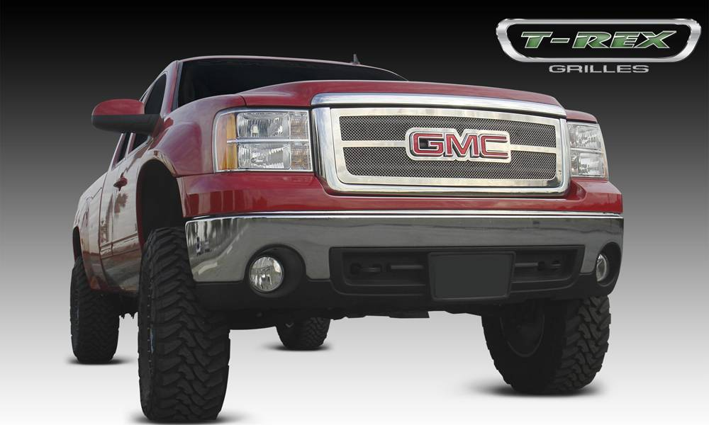 T-REX GMC Sierra Upper Class Polished Stainless Mesh Grille - Overlay w/ Logo Opening - Pt # 54204