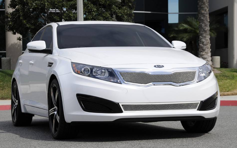 T-REX Grilles - 2011-2013 Kia Optima Upper Class Series Main Grille, Polished, 1 Pc, Overlay - PN #54320