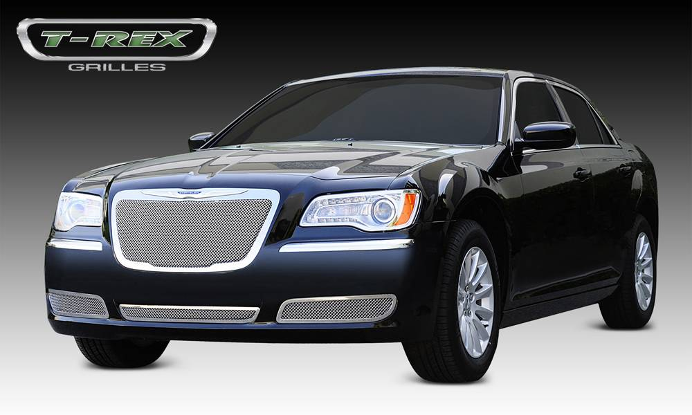T-REX Chrysler 300 All Upper Class Polished Stainless Mesh Grille - With Formed Mesh Center - OE Logo installs on top of grille - Pt # 54433