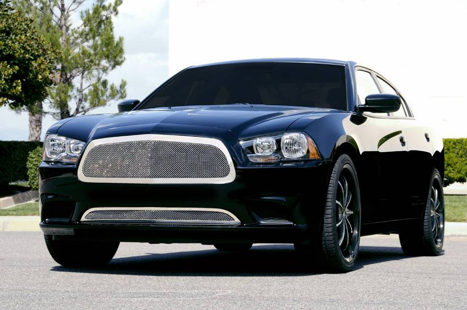 T-REX Dodge Charger Upper Class Polished Stainless Mesh Grille - Full Opening - With Formed Mesh Center - Pt # 54441