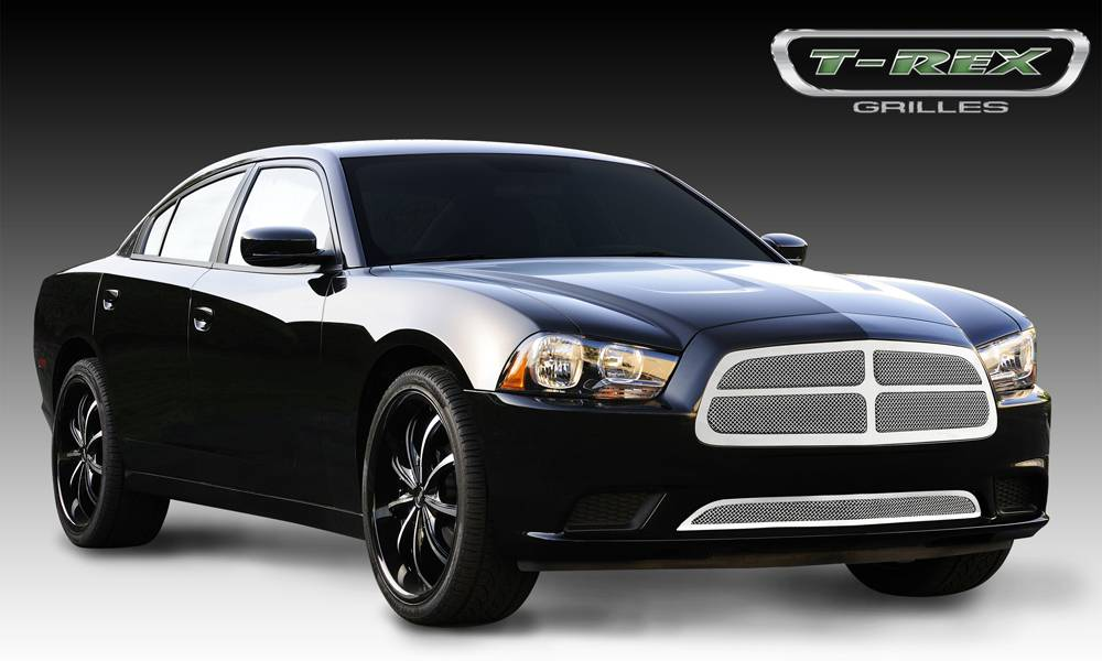 T-REX Dodge Charger Upper Class Polished Stainless Mesh Grille - With Formed Mesh - 4 Pc Look - Pt # 54442