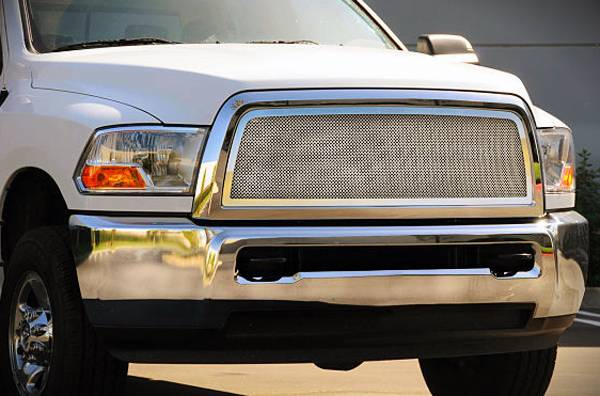 Dodge Ram PU 2500 / 3500 Upper Class Polished Stainless Mesh Grille - 1 Pc Full Open Requires cutting factory cross bars in OE grille - Pt # 54451