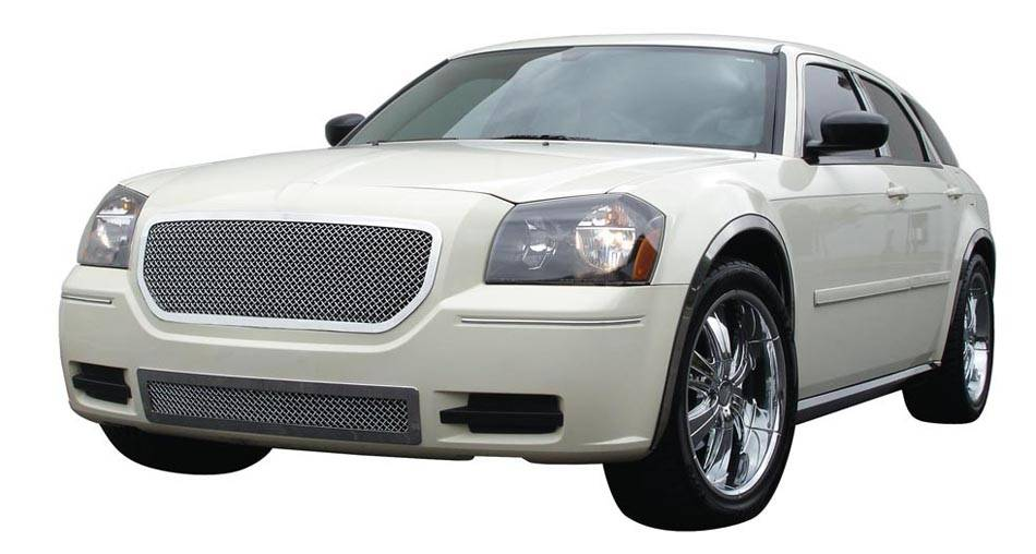 T-REX Dodge Magnum Upper Class Polished Stainless Mesh Grille - Custom Full Opening Style - Pt # 54473