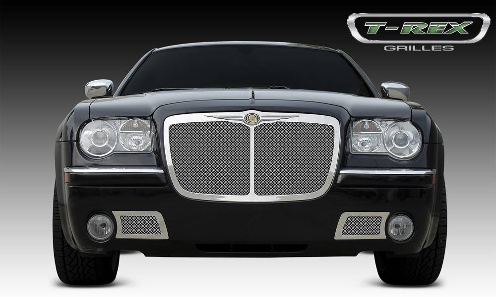 T-REX Grilles - 2005-2010 Chrysler 300, 300C, SRT Upper Class Grille, Polished, 1 Pc, Replacement, with Center Vertical Bar - PN #54479