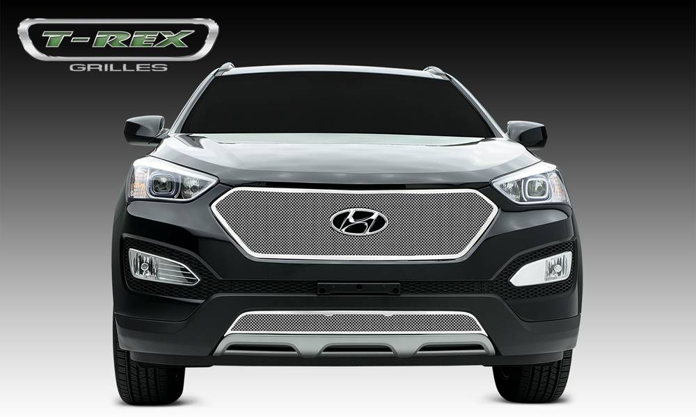 Hyundai Santa Fe Sport Upper Class Polished Stainless Main Grille with formed Mesh, Full Opening - Pt # 54493