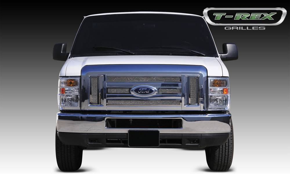 T-REX Ford Econoline XLT Upper Class Polished Stainless Mesh Grille - 6 Pc - Pt # 54501